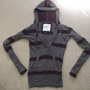 Abercrombie & Fitch Red and gray stripe pullover